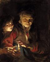 Excellent oil painting Peter Paul Rubens - Night Scene Grandma and granddaughter