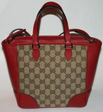 NWT GUCCI GUCCISSIMA GG RED LEATHER & BEIGE/EBONY CANVAS TOTE HANDBAG
