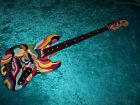 Wild custom painted Jazz bass Fender American standard USA guitar vintage design for sale