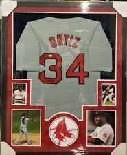 DAVID ORTIZ BOSTON RED SOXS AUTOGRAPHED JERSEY CUSTOM FRAMED FULL SUEDE. JSA COA