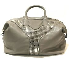 AUTHENTIC YVES SAINT LAURENT Easy Lock Duffle Bag Gray Leather 225437