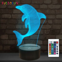 Night Light for Kids Dolphin 3D Illusion Ocean Animal Lamp for Xmas Decor Lamps