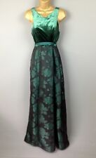 Coast Maxi Dress UK Size 12 Floral Velvet Green Netting Taffeta Prom Full Length