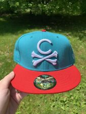 "Crooks and Castles ""Cross Bones"" Snapback Hat (Teal/Red) Sz 1 1/2"