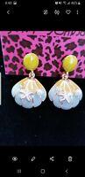 New Betsey Johnson blue Rhinestone Enamel Starfish shell earrings Fashion Jewel