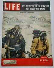 LIFE Magazine Sir Edmund Hillary Tenzing Norkey Climb Mt Everest July 13 1953