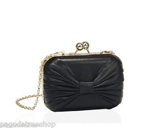 New Box Clutch Handbag with Bow Motif and Chain Strap in Black or Red