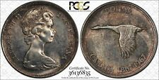 1967 CANADA GOOSE SILVER $1 DOLLAR BU PCGS MS62 DARK GREY TONED