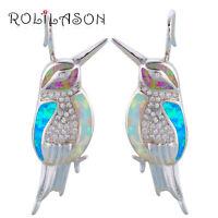OE636UK White&Blue&Red Fire Opal Silver Stamped Fashion Stud Earrings for Women