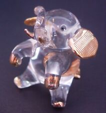 Glass Animal ELEPHANT Clear and Gold Painted Glass Ornament Glass Animal Figure