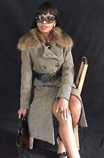 Full length BCBG Max Azria double breast Tweed & Raccoon fur collar Coat S-6