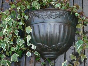 Pair of 19th.c Decorative Cast Iron Wall Planters.