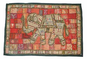Vintage Wall Hanging Hand Beaded Embroidery Patch Work Tapestry Red Elephant