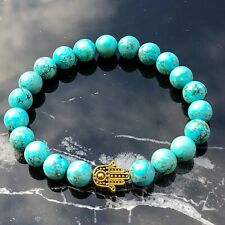 Tibetan Gold Hamza Hand and Blue Turquoise Natural Gemstone Beaded Bracelet