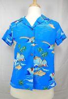 Kole Kole Womens Blue Hawaiian Aloha Shirt Size L Large Palm Trees Rainbow