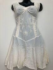 Artisan Cotton Boho Gypsy Bohemian Mayan dress Made in PERU Ivory PSI10