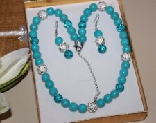 Synthetic Blue Turquoise &clay pave rhinestone necklace & earrings gift set