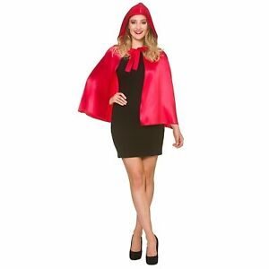 Short Satin Hooded Cape Red Riding Hood Adults Womens Fancy Dress Costume