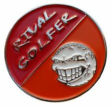 'FIFTY/FIFTY' Golf Ball Marker #2 Red & Orange