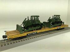MTH TRAINMAN Custom with 2 JOHN DEERE 850J Army Green Bulldozers O scale