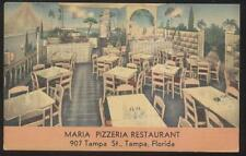 Postcard TAMPA Florida/FL  Maria Pizzeria Pizza Shop Restaurant Interior 1930's?