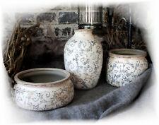 Romatischer nostalgischer Übertopf Blumentopf Landhaus Shabby chic Keramik Creme