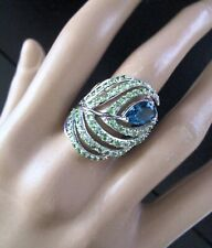 LIRM 925 Sterling Silver Blue & Green CZ Peacock Feather Ring Size 9