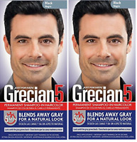 Grecian 5 for Men, 5 Minute Permanent Shampoo-In Haircolor, Black (2 Pack)