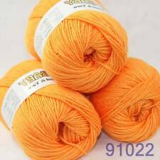 SALE 3x50gr Skeins Silk wool cashmere BABY Hand Knitting Yarn Orange 91022