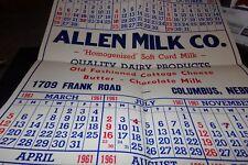 Vintage Poster Size Calendar 1961 Allen Milk Company Columbus Nebraska Dairy