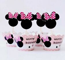 24 MINNIE MOUSE: 12 Cupcake Toppers And 12 Wrappers Party Favors, Baby Shower.