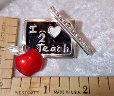 Back-to-school TEACHER PIN~I LOVE 2 TEACH w/ruler,apple,chalkboard~Gr8 gift~1of2