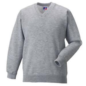 Boys School Jumper Black Navy V-Neck Sweater Fleece Sweatshirt Uniform Ages 3-13