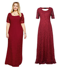 Burgundy Womens Lady Lace Long Maxi Formal Evening Party dress Plus Size 22W