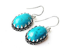 """39CT. NATURAL TURQUOISE Vintage Style Silver PLATED Earring=1.50""""HANDMADE"""