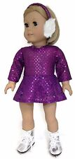 Doll Clothes for 18 inch American Girl - Purple Sequin Skating Dress & Earmuffs