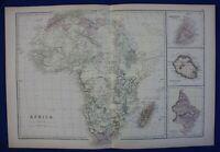 AFRICA, MADAGASCAR, MAURITIUS, REUNION, NATAL, original antique map, Weller 1884