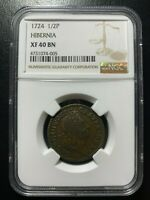 1724 Wood's Hibernia 1/2P NGC XF40 Colonial Copper EAC Choice Halfpenny Farthing