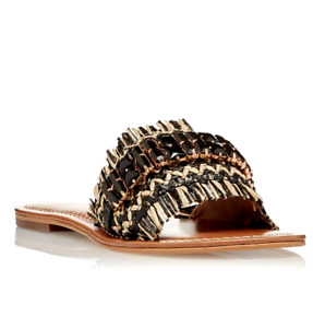 Dune Nilah Womens UK 6 EU 39 Black Embellished Raffia Flat Mules Trimmed Sandals