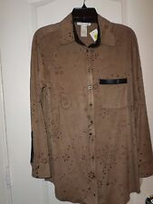 Alberto Makali Camel Suede Like Cut-Out Button Down Blouse, Size S, NWT $174