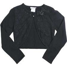 Tween Girls 7-16 Black Lace Front Knit Bolero Cardigan Shrug/Sweater, S-M-L-XL