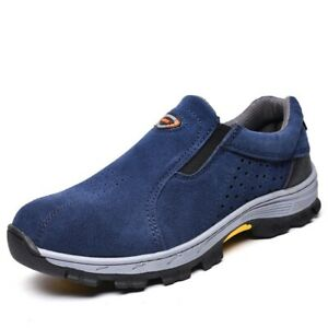 AU Men's Steel Toe Safety Boots Suede Slip-On Work Shoes Breathable Sneakers