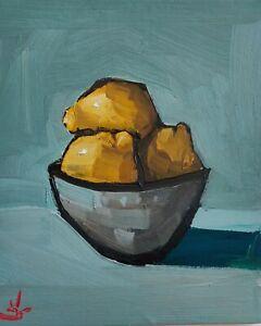 LEMON BOWL STILL LIFE OIL PAINTING BY ARTIST VIVEK MANDALIA FRUIT ART 12 x 10