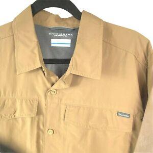Columbia Mens  Omni-Shade Shirt sz LT Brown Beige Vented Short Sleeve Fishing