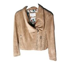BCBGeneration Faux Suede Lace Up Women's Moto Jacket, Size Small