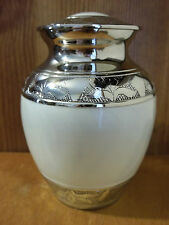 "Plated Nickel & White Enamel Solid Brass Urn~5""~28 lbs."