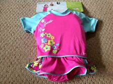 New Speedo Kids UV Floatation Suit.  Girls M/L.  Pink, turquoise, cute skirt.