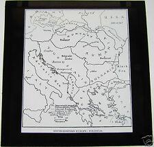Glass Magic lantern slide SOUTHERN-EASTERN EUROPE POLITICAL MAP OCTOBER 1940 WW2