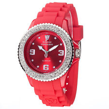 DETOMASO COLORATO WOMENS RED GLAMOUR SILICON WATCH 40mm MIYOTA MOVEMENT NEW