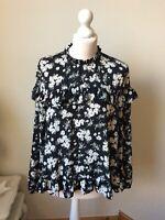 BNWT Black Daisy Ditsy Flower Frill Print Blouse Size 16 Long Sleeve